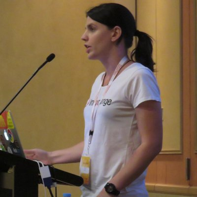 Jess Archer speaking at a conference